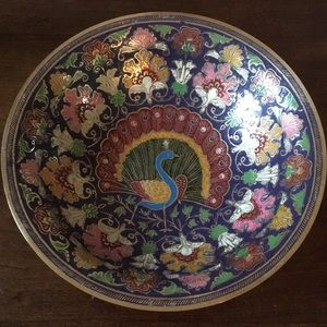 Enamel and Brass Peacock Bowl